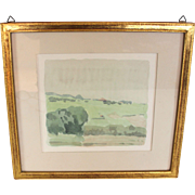 "Original Watercolor titled ""Paysage de la Cote: by listed artist Gerald Goy (1921-)"