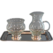 Vintage Glass and Newport Sterling Base Sugar & Creamer with Silverplate Tray