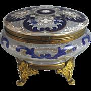 Antique Bohemian Enameled Glass Box with Bronze Mounts Blue White Design