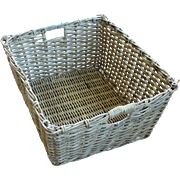 Vintage French Large Wicker Basket with Handles