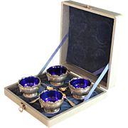 Four Corbell Silverplate Salts with Cobalt Glass Liners and Spoons in Box