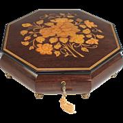 Vintage Sorrento Octagonal Wooden Music Box Inlaid Flowers, Key