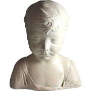 Vintage Chalk Ware Bust of a Young Child