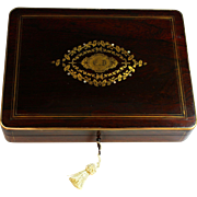 Antique French Napoleon III Game or Dresser Box with Key