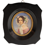 Antique Hand Painted Miniature Portrait of a Lady with Hat