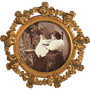 Antique Gilded Metal Photo Frame with Baby and Mom Picture