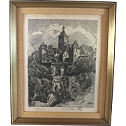 Rothenburg o/d Tauber Kobolzell Original Signed Etching by Otto F. Probst (1920)