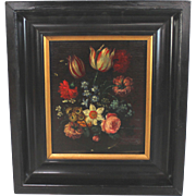 Dutch Flemish School Oil on Board Painting of Tulips and Peonies