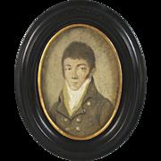 Hand Painted Miniature Portrait of a Gentleman 1770