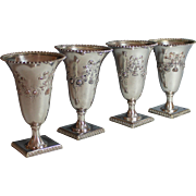 Set of Four Vintage Silverplate Goblets/Vases with Flower and Bow Decoration