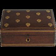 Antique Embossed Leather Jewelry Dresser Box Fleur de Lis