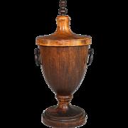 Antique Wood Wooden Lidded Box/Urn Finial Shape