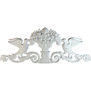 Vintage Cast Iron Pediment / Overdoor with Doves and Fruit