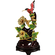 Vintage Cloisonne Humming Bird on Branch with Open-worked Flowers