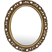 Antique Italian Gilt Wood Florentine Oval Mirror