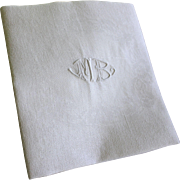 Antique French White Cotton Monogrammed Napkins MB Set of 12