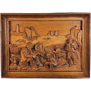 French Antique Deeply Carved Wood Wooden Panel Fishermen Normandy