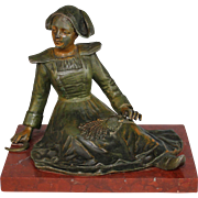 Antique French Presse Papier Paperweight French Farm Girl