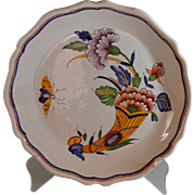 Antique French Rouen Faience Plate with Horn of Plenty Hand Painted