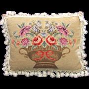 "Vintage Handmade 20"" Needlepoint Pillow"