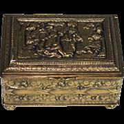 Antique Bronze and Wood Repousse Dresser Box