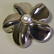 Vintage Modernist Flower Power Sterling Silver Pin, Brooch