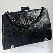Stylish vintage genuine black lizard hand bag/purse