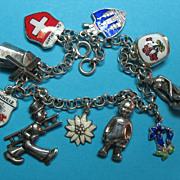 Vintage Silver European Charm Bracelet
