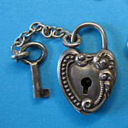 SOLD Victorian Sterling Silver Padlock & Key Charm
