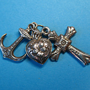 RARE 1800s Antique French Puffy Faith - Hope - Charity Charms