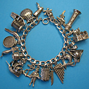 Vintage Sterling Silver Pirate Charm Bracelet - Rare Charms