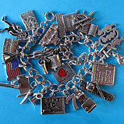 Vintage Sterling Silver School Themed Charm Bracelet - Rare Charms