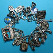 Vintage Sterling French Theme Charm Bracelet - Fabulous