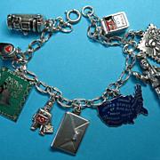Vintage Silver European & U.S. Postal Charm Bracelet