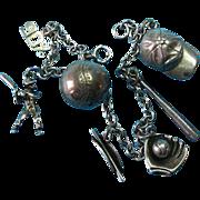Vintage Sterling Silver Baseball Theme Charm Bracelet