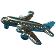 Vintage Sterling Silver Mechanical Jet Liner Aircraft Charm