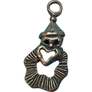 Vintage Sterling Silver Clown Charm With Heart Shaped Mouth