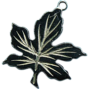 Vintage Sterling Silver 1940s Rare Black Enamel Maple Leaf Charm
