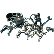 Vintage Sterling Silver Dog Theme Charm Bracelet