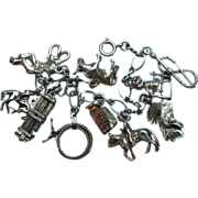 Vintage Sterling Silver Rodeo Themed Charm Bracelet