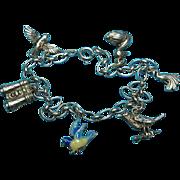 Vintage Sterling Silver Bird Watching Theme Charm Bracelet