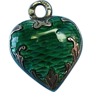 Victorian French Silver Basse-Taille Enamel Puffy Heart Charm