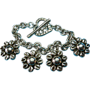 Vintage Sterling Silver Taxco Large Daisy Flower Charm Bracelet Heart Toggle Clasp with Stampe