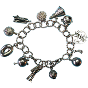 Vintage Silver 1960s Space Theme Charm Bracelet