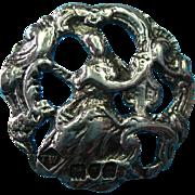 Vintage Sterling Silver Edwardian English Button Hallmarked 1919