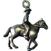 Vintage Sterling Silver 1940s Rare Cowboy Drover Riding Horse Charm