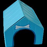 Miniature Enamel Tin Dog House with Bow Dog Bone