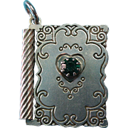 "Vintage Sterling Silver Book Charm Pendant Opens to ""With Love"" and a Green Rhinesto"