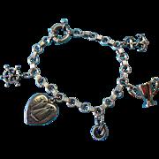 Vintage Sterling Sailboat Charm Bracelet Gold Wash Trophy