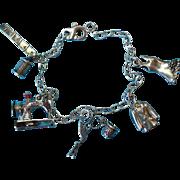 Vintage Silver Designer Seamstress Sewing Charm Bracelet
